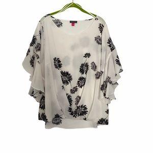 Vince Camuto Floral Flutter Cuff Blouse size XL